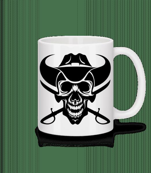 Wild West Skull - Keramický hrnček - Biela - Predné