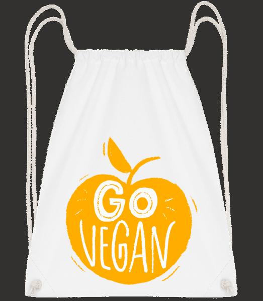 Go Vegan - Drawstring Backpack - White - Vorn