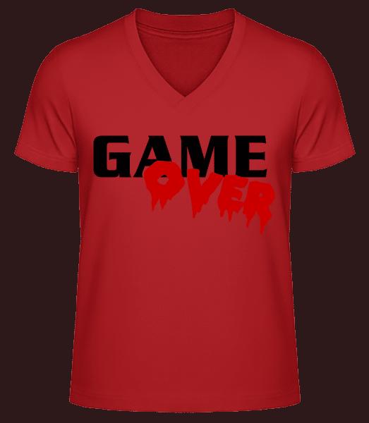Game Over - Men's V-Neck Organic T-Shirt - Red - Vorn