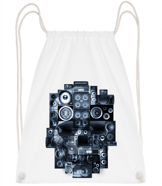 Boombox Skull - Drawstring Backpack - White - Vorn
