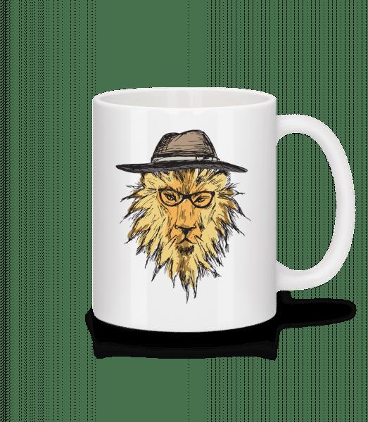 Löwe mit Hut - Tasse - Weiß - Vorn
