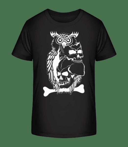 Eulen Totenköpfe Tattoo - Kinder Premium Bio T-Shirt - Schwarz - Vorn