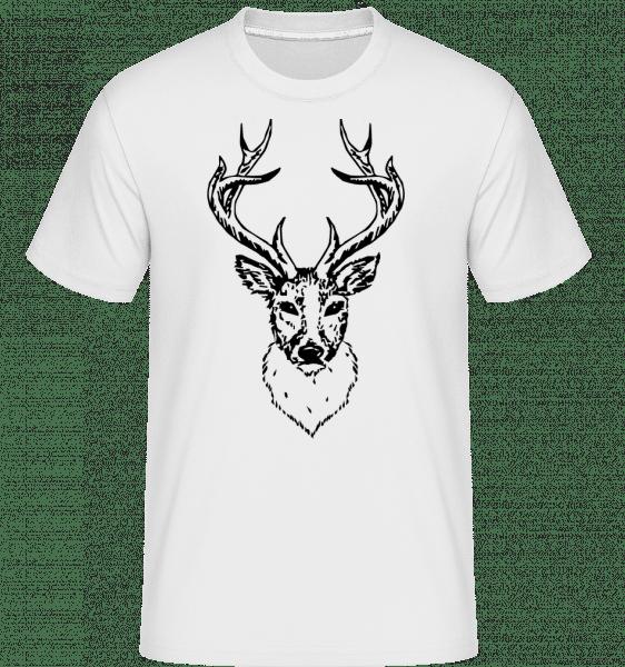 Deer Head Black -  Shirtinator tričko pre pánov - Biela - Predné