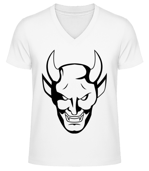 Teufelskopf - Männer Bio T-Shirt V-Ausschnitt - Weiß - Vorn
