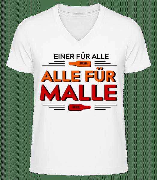 Einer Für Alle Alle Für Malle - Männer Bio T-Shirt V-Ausschnitt - Weiß - Vorn