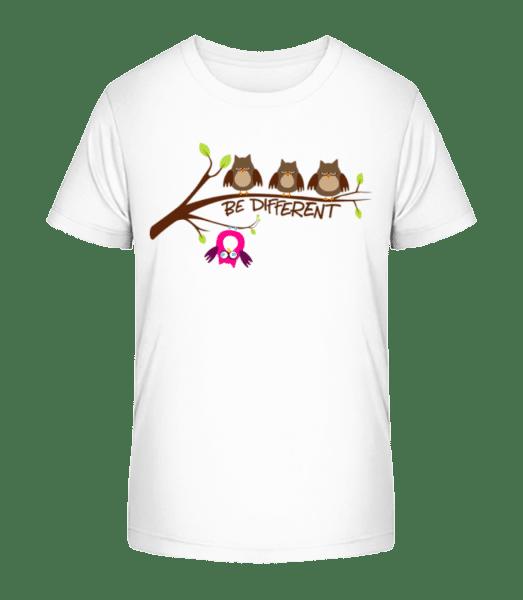 Be Different Owls - Kid's Premium Bio T-Shirt - White - Vorn