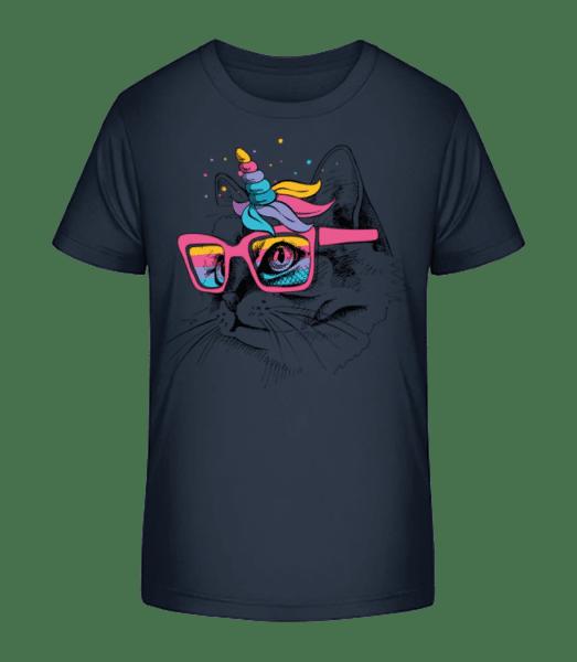 Unicorn Party Cat - Kid's Premium Bio T-Shirt - Navy - Vorn