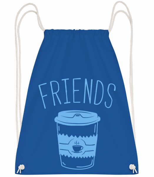Friends Coffee - Drawstring Backpack - Royal Blue - Vorn