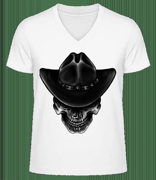 Cowboy Skull - Men's V-Neck Organic T-Shirt - White - Vorn