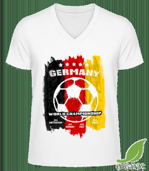 """Germany World Championship - """"James"""" Organické tričko s V-výstrihom - Biela - Predné"""