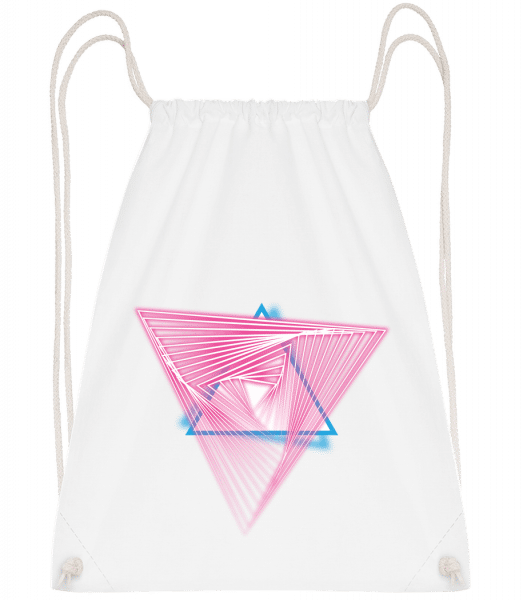 Laser Triangles - Drawstring Backpack - White - Vorn