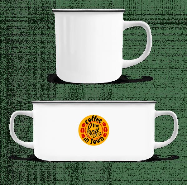 Nejlepší káva V Town Logo - Emaille hrnek - Bílá - Napřed