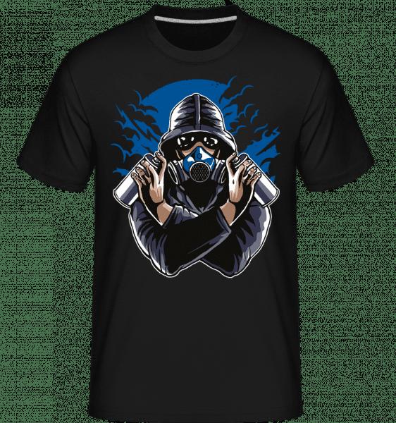 Graffiti Gasmask -  Shirtinator tričko pro pány - Černá - Napřed