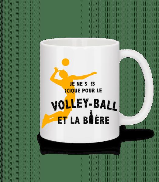 Le Volley-Ball Et La Bière - Mug en céramique blanc - Blanc - Devant