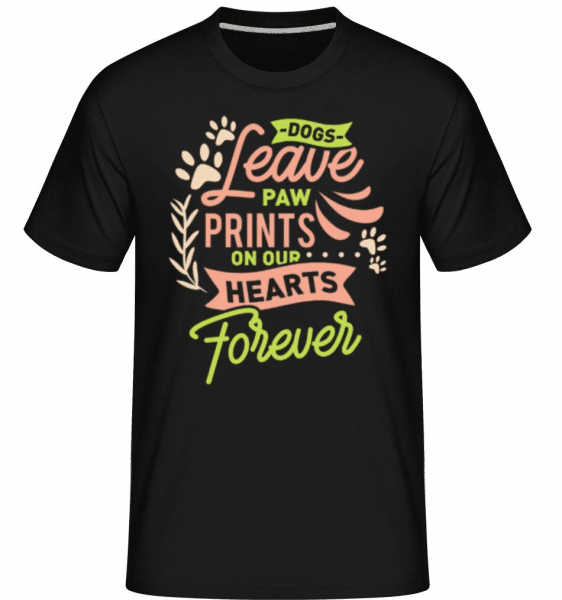 Dogs Leave Paw Prints On Our Hearts -  Shirtinator Men's T-Shirt - Black - Front