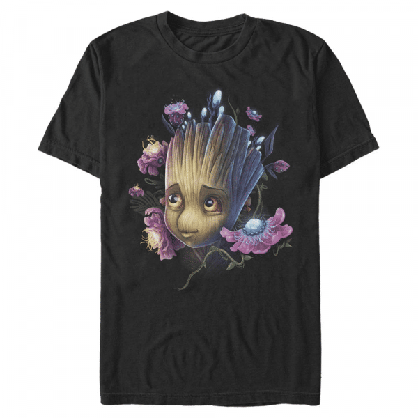 Groot Flowers - Marvel Guardians of the Galaxy - Men's T-Shirt - Black - Front