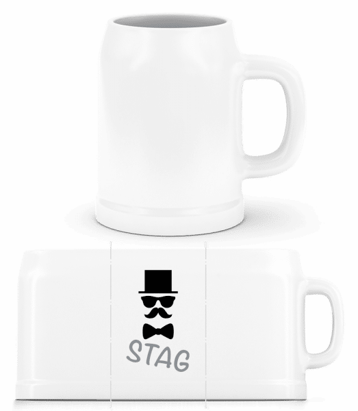 Stag - Mustache - Beer Mug - White - Vorn