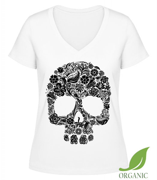 """Flower Skull - """"Janet"""" Organic V-Neck T-Shirt - White - Vorn"""