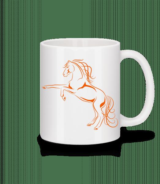 kôň Orange - Keramický hrnček - Biela - Predné