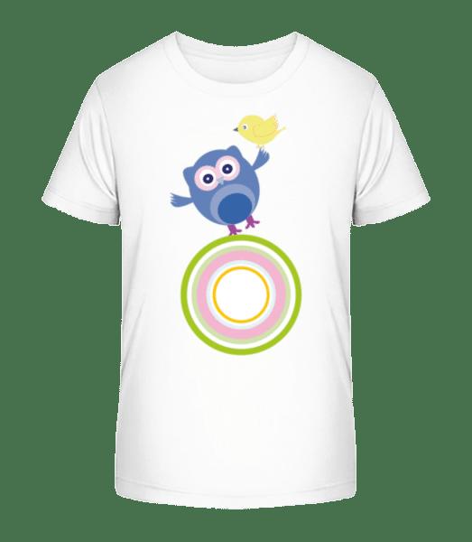 Cute Owl And Bird - Kid's Premium Bio T-Shirt - White - Vorn