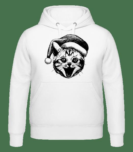 Weihnachtskatze - Kapuzenhoodie - Weiß - Vorn