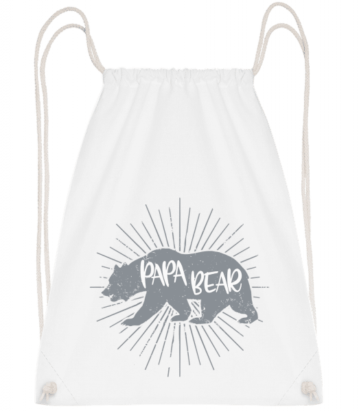 Papa Bear - Drawstring Backpack - White - Vorn