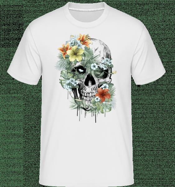 Blumen Totenkopf - Shirtinator Männer T-Shirt - Weiß - Vorn
