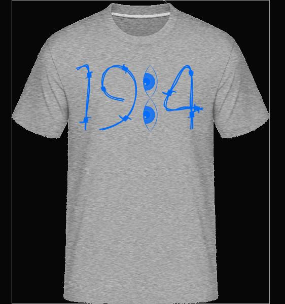 1984 Drähte Augen - Shirtinator Männer T-Shirt - Grau meliert - Vorn