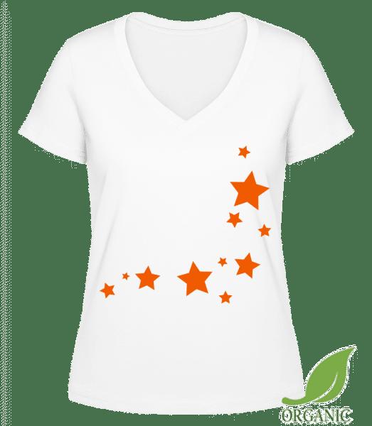 """Stars - """"Janet"""" Organické tričko s V-výstřihem - Bílá - Napřed"""