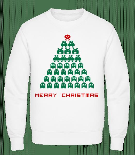 Merry Christmas Pixel Monster - Men's Sweatshirt - White - Vorn