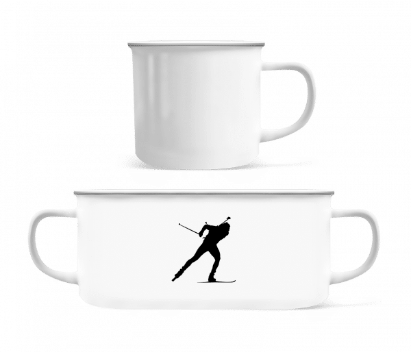 Skiing Cross Country Black - Enamel-cup - White - Vorn