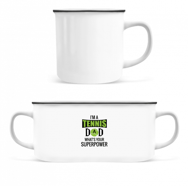 Tennis Dad Superpower - Enamel-cup - White - Vorn