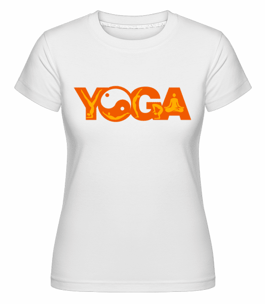Yoga Sign Orange -  Shirtinator Women's T-Shirt - White - Vorn