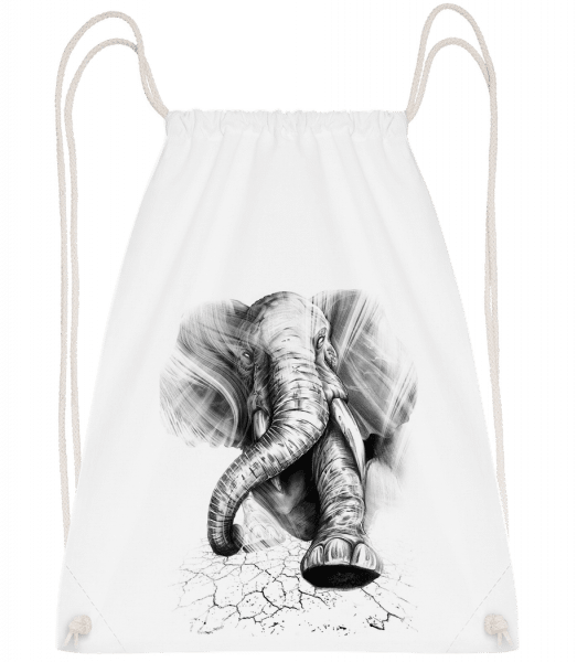 Angry Elephant - Drawstring Backpack - White - Vorn