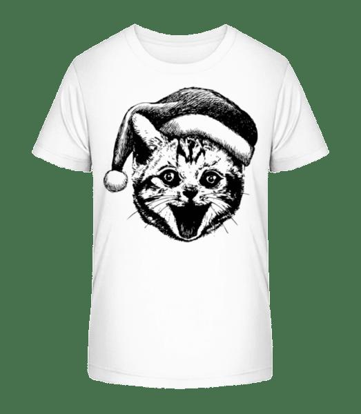 Christmas Cat - Kid's Premium Bio T-Shirt - White - Vorn