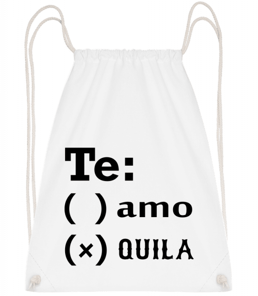 Te Amo Tequila - Drawstring Backpack - White - Vorn