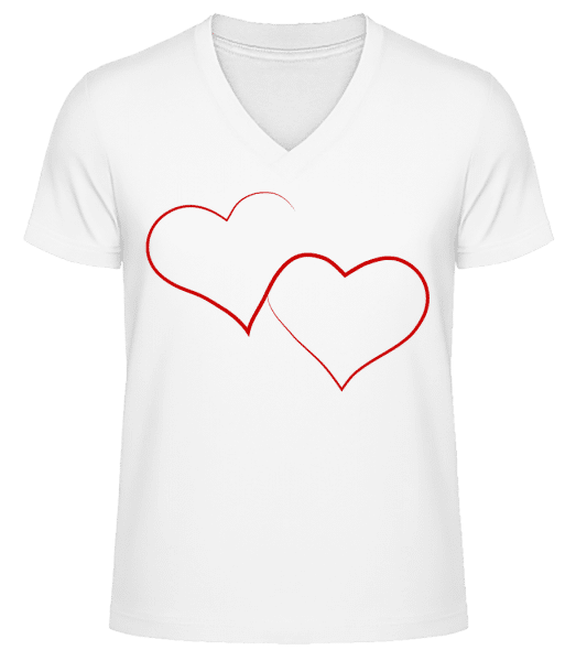 Two Hearts - Men's V-Neck Organic T-Shirt - White - Vorn