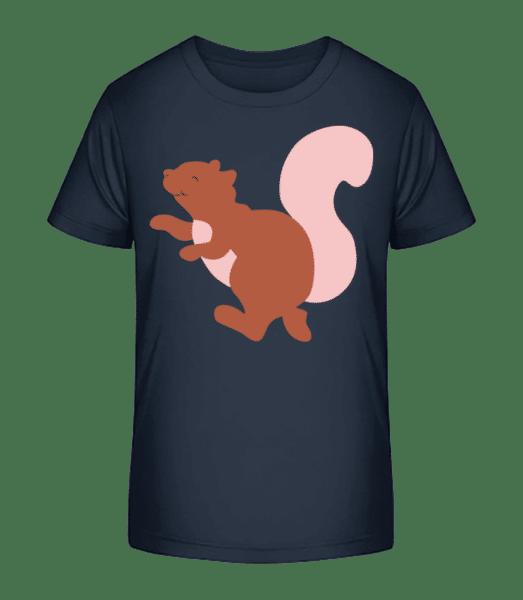 Kinder Comic - Eichhörnchen - Kinder Premium Bio T-Shirt - Marine - Vorn