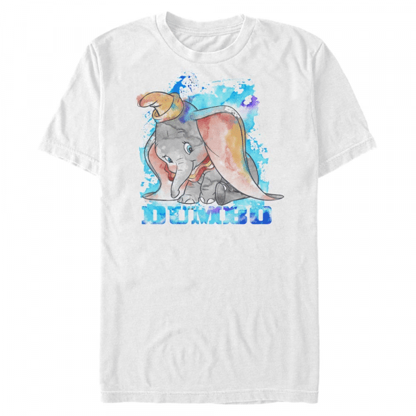 Watercolor Dumbo - Disney - Men's T-Shirt - White - Front