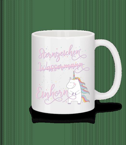 Sternzeichen Einhorn Wassermann - Tasse - Weiß - Vorn
