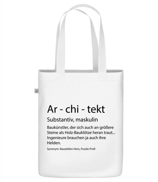 Architekt Quatsch Duden - Bio Tasche - Weiß - Vorn