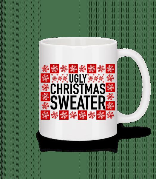 Ugly Christmas Sweater - Mug en céramique blanc - Blanc - Devant