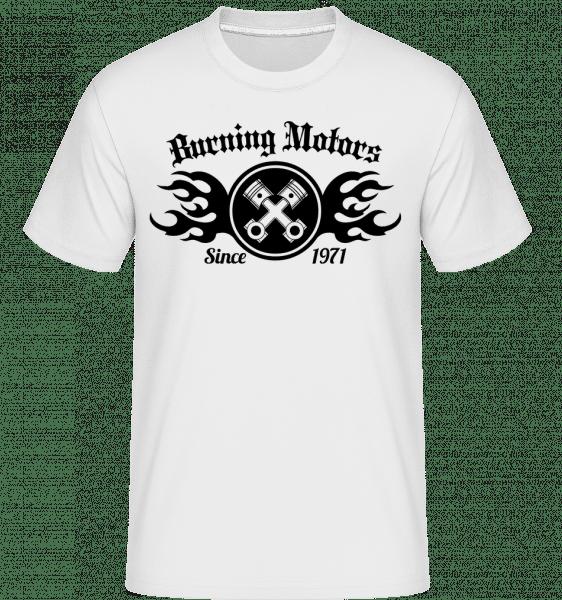 Burning Motors Biker -  T-Shirt Shirtinator homme - Blanc - Devant