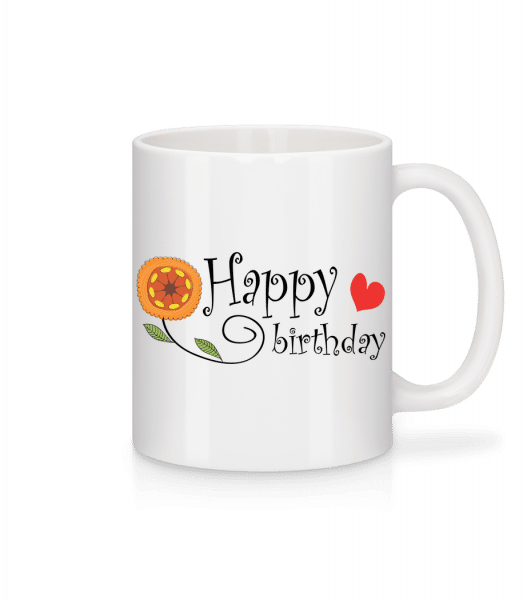 Happy Birthday Blume - Tasse - Weiß - Vorn