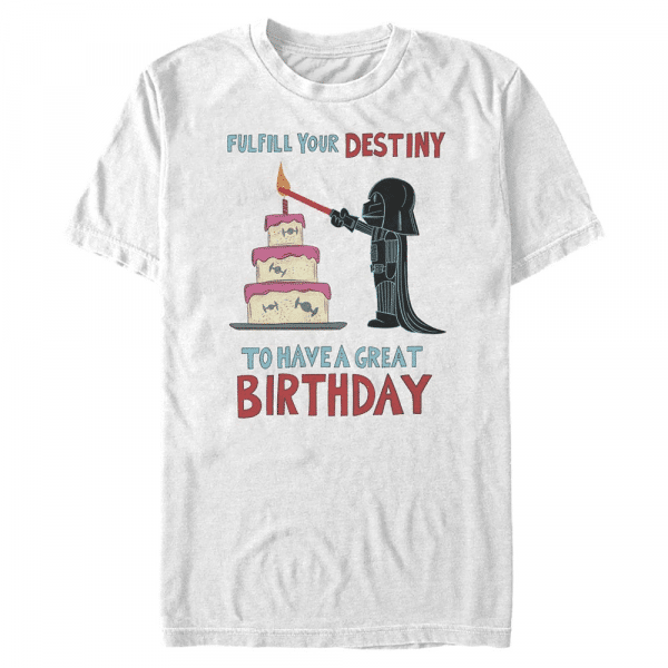 Fulfill Your Birthday Darth Vader - Star Wars - Men's T-Shirt - White - Front