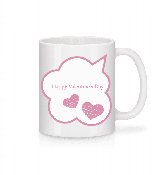 Happy Valentine's Day Bubble - Mug - White - Vorn