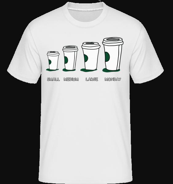 Coffee Small Medium Large Monday -  Shirtinator Men's T-Shirt - White - Vorn
