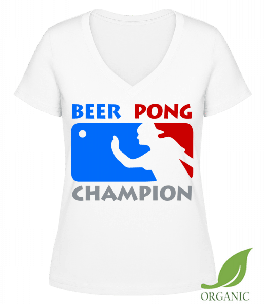 "Beer Pong Champion - ""Janet"" Organic V-Neck T-Shirt - White - Vorn"