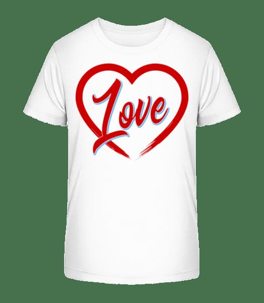 Heart Love - Kinder Premium Bio T-Shirt - Weiß - Vorn