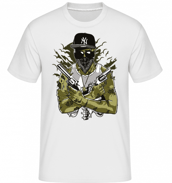 Gangsta Zombie -  Shirtinator Men's T-Shirt - White - Vorn